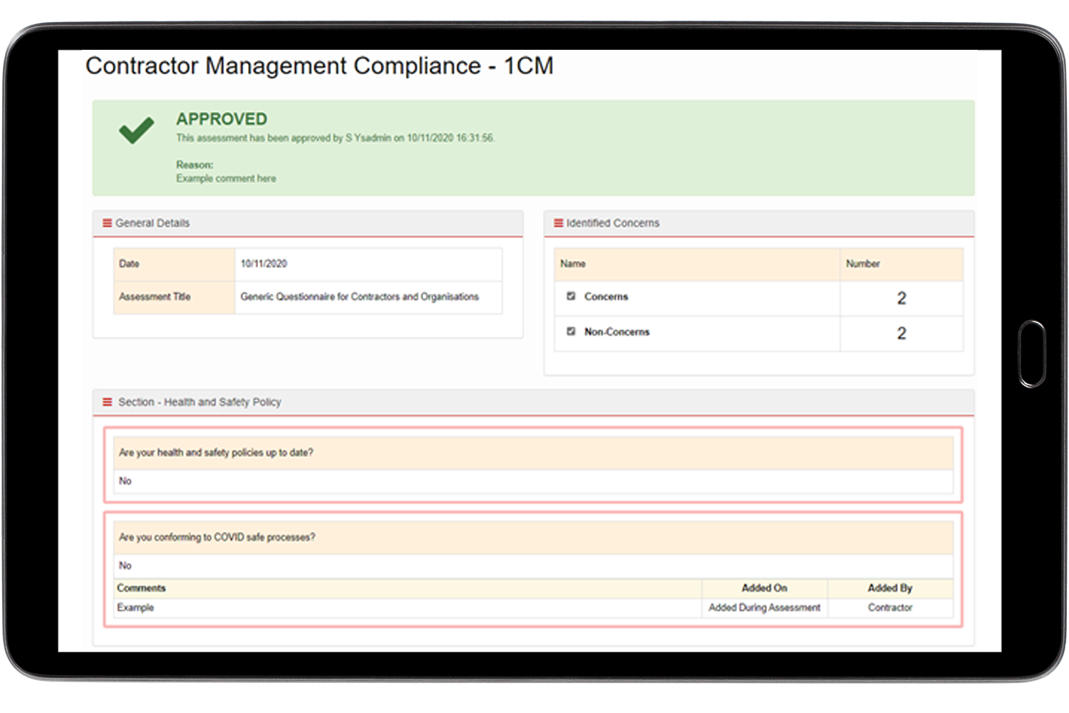 Contractor Management Tablet