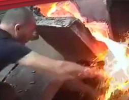 WORKER SLAPS MOLTEN METAL AND NEW RISKEX PRODUCT VIDEO FI